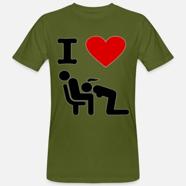 Pictogram Blow Job I love blowjobs, pictogram, stencil - Men's Organic T-Shirt