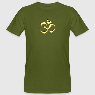 Sacred OM (AUM - I AM), gold, manifestation of spiritual strength, The energy symbol gives , peace and bliss - Ekologiczna koszulka męska