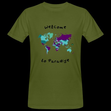 Wereldkaart design met Welcome to Paradise - Mannen Bio-T-shirt