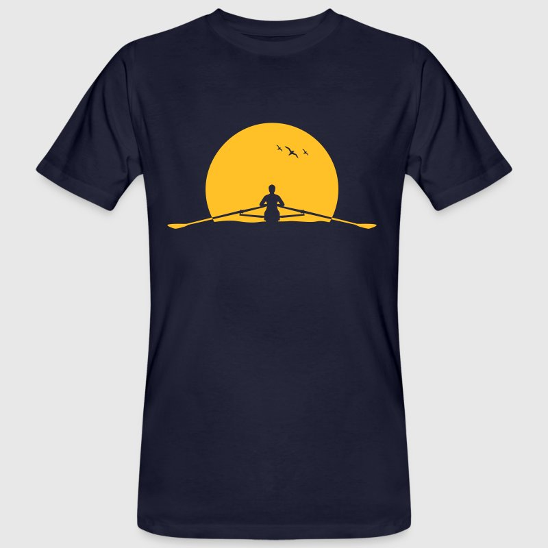 Rowing sunset rower rowing skulls - Men's Organic T-shirt