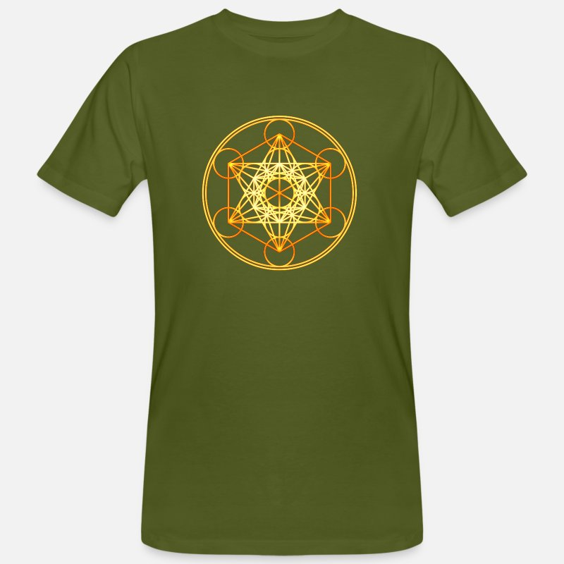 7cf5dafda836 Metatron's Cube Sacred Geometry Mathematics Math Men's Organic T-Shirt -  moss green