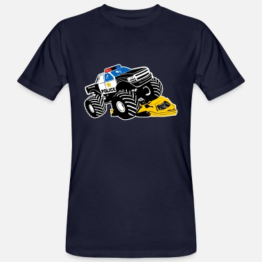 Monster Polis Monster Truck - Polisbil Big Foot - Ekologisk T-shirt herr