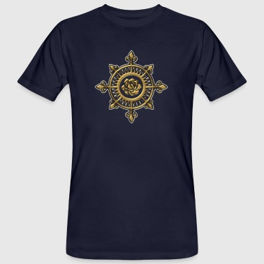 Wind rose, compass, Fleur de Lys, sailing, sailor - Mannen Bio-T-shirt