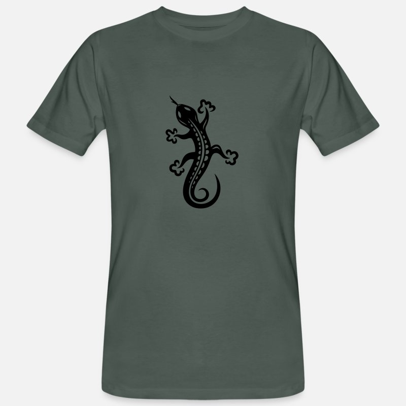 Tattoo T-Shirts - Small lizard, salamander, Tattoo. - Men's Organic T-Shirt dark grey