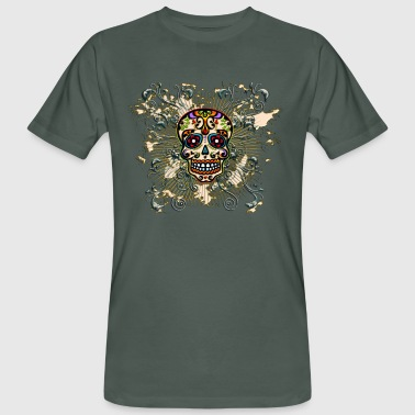 Mexican Sugar Skull - Day of the Dead - Men's Organic T-shirt