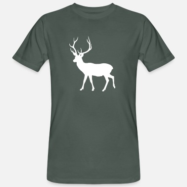 Stag Symbol Brave Deer Proud Stag White - Men's Organic T-Shirt
