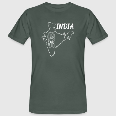 Ahmedabad India Country Map And Benegal Tiger - Men's Organic T-Shirt