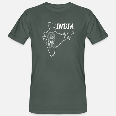 Indian Tiger India Country Map And Benegal Tiger - Men's Organic T-Shirt