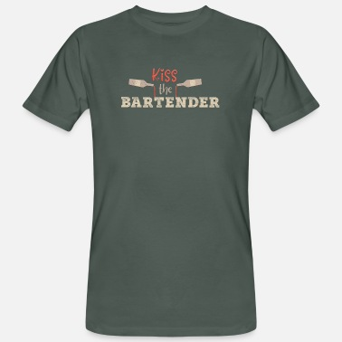 Bartender Design Kiss the Bartender Bartender Saying Gift - Men's Organic T-Shirt