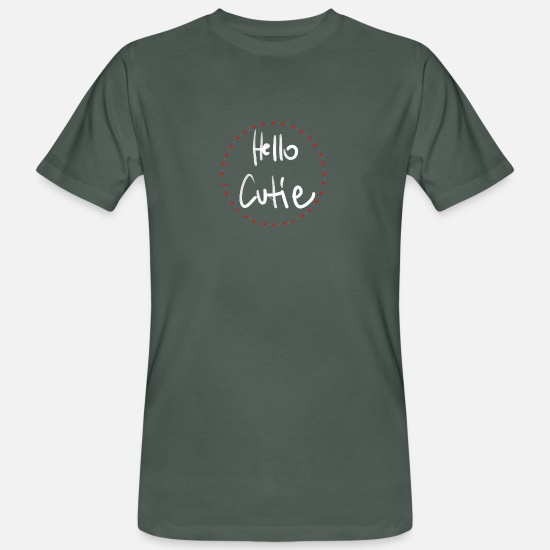Love T-Shirts - hello cutie in hearts - Men's Organic T-Shirt dark grey