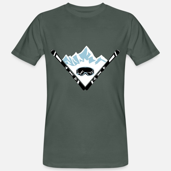 Mountains T-Shirts - Ski, mountains and goggles - Men's Organic T-Shirt dark grey