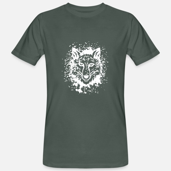 Art T-Shirts - Wolf Animalis - Men's Organic T-Shirt dark grey