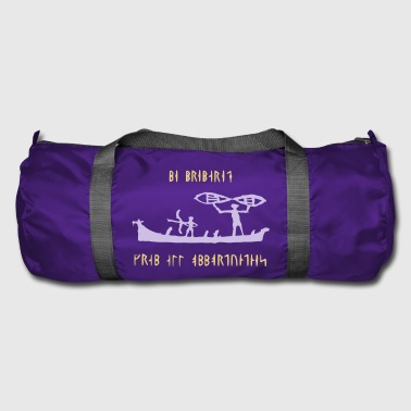Vikings on a boat with runic text - Duffel Bag
