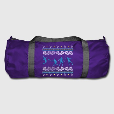 badminton ugly sweater xmas gift sport feather - Duffel Bag