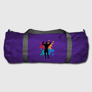 Sport fitness muscles gift color splash painting - Duffel Bag