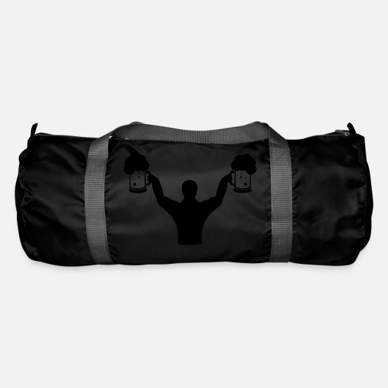 Body Building Bags & Backpacks - Body builder fitness with beer - Duffle Bag black