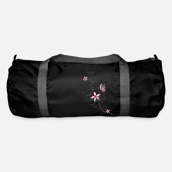 Butterfly Bags & Backpacks - Filigree ornament with butterfly and flowers. - Duffle Bag black