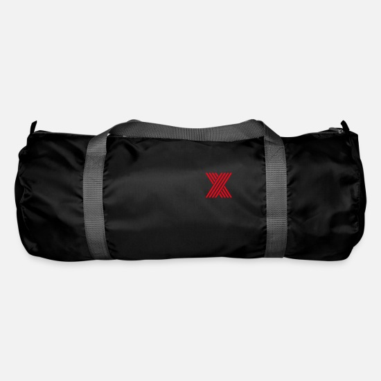 Gift Idea Bags & Backpacks - red X, red, letters - Duffle Bag black