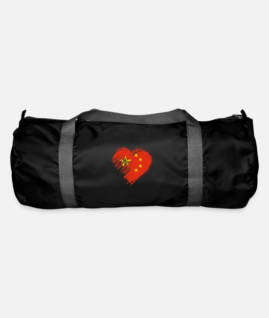 Heart Bags & Backpacks - Grungy I Love China Heart Flag - Duffle Bag black