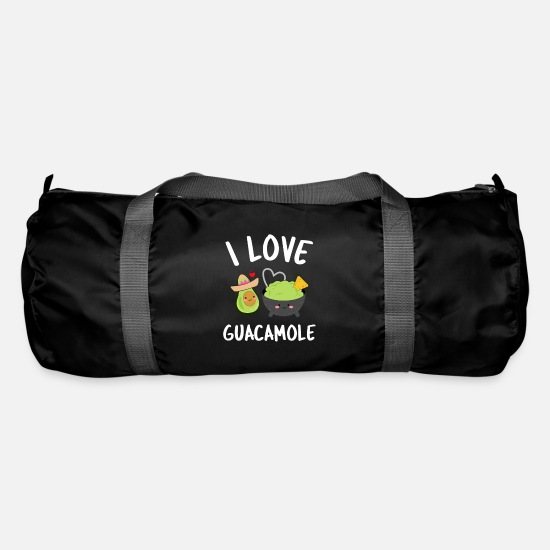 Love Bags & Backpacks - i love guacamole dip delicious mexico sombrero - Duffle Bag black