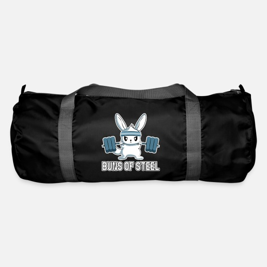 Steel Bags & Backpacks - Funny Rabbit Fitness Sport Buns Of Steel Gift - Duffle Bag black