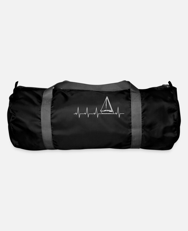 Water Bags & Backpacks - I love sailing - heartbeat - Duffle Bag black