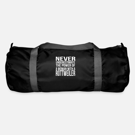 Dog Owner Bags & Backpacks - Never underestimate the power of woman rottweiler - Duffle Bag black