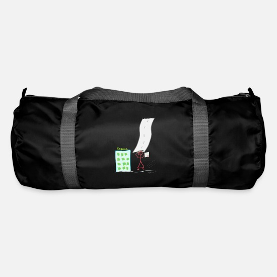 Gymnasium Bags & Backpacks - Graduation Stickman Diploma Journey - Duffle Bag black