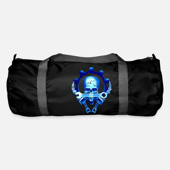Motor Bags & Backpacks - Skull mechanic piston spark plug engine - Duffle Bag black