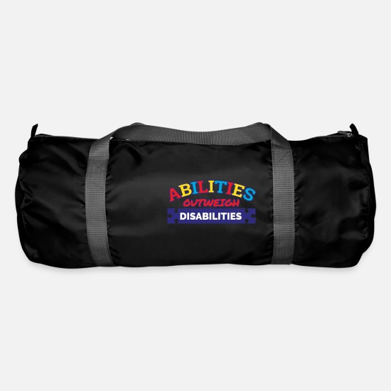 Autism Awareness Day Bags & Backpacks - Autism Awareness Abilities Outweigh Disabilities - Duffle Bag black