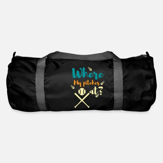 Baseball Shirt Bags & Backpacks - Where my pitches at? - Duffle Bag black