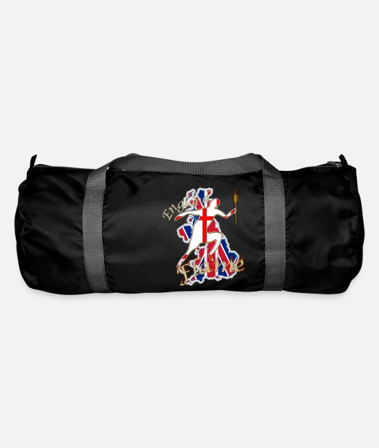 Gb Flame Bags & Backpacks - england st george uk torch runner - Duffle Bag black
