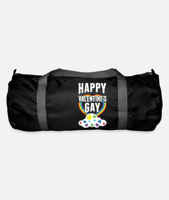 Design Bags & Backpacks - Happy Valentines Gay Rainbow Cloud Romantic - Duffle Bag black