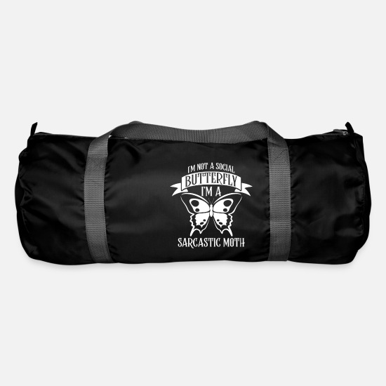 Nocturnal Bags & Backpacks - I'm not a social Butterfly i'm a sarcastic Moth - Duffle Bag black