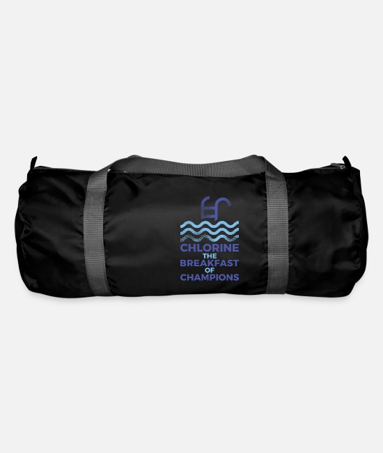 Ass Bags & Backpacks - Breakfast of champions funny swimming design - Duffle Bag black