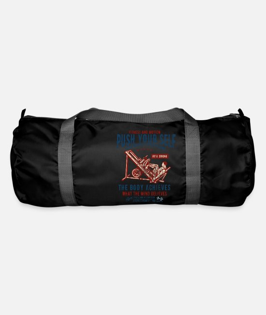 Training Bags & Backpacks - FITNESS AND MOTION - sports and fitness shirt design - Duffle Bag black
