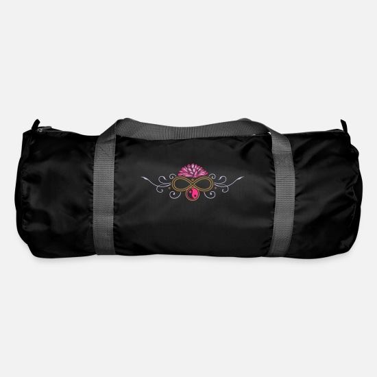 Symbol  Bags & Backpacks - Large lotus flower with infinity and yin yang - Duffle Bag black