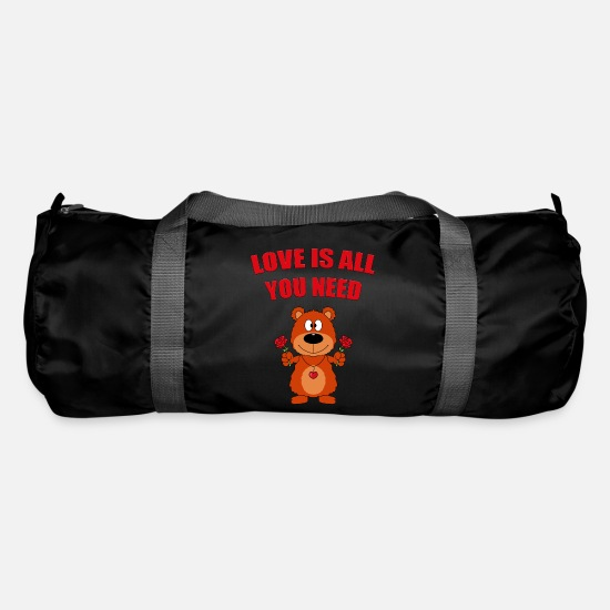 Love Bags & Backpacks - Teddy - Bear - Roses - Love is all you need - Duffle Bag black