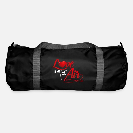 Love Bags & Backpacks - LOVE is in the air - love heart romance relationship - Duffle Bag black
