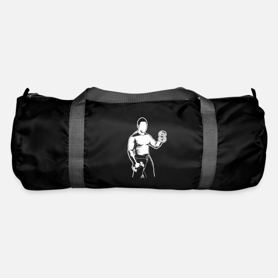 Body Builder Bags & Backpacks - Fitness type biceps curls - Duffle Bag black