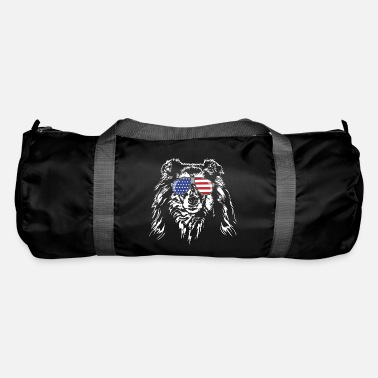 Long-haired Long-haired Herd Dog Long haired COLLIE America flag Wilsigns dogs - Duffle Bag