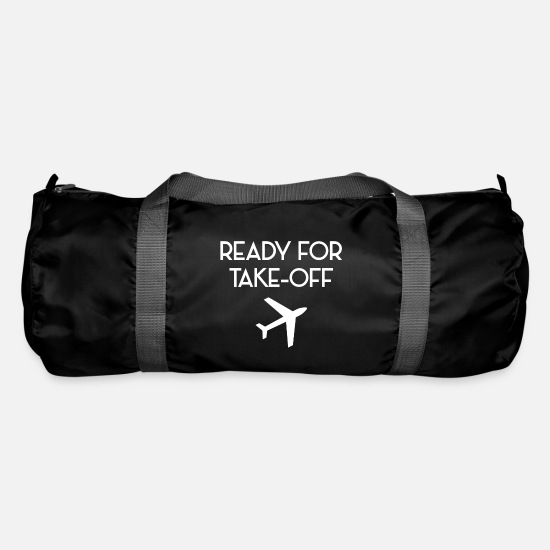 Takeaway Bags & Backpacks - Ready for take off plane flight attendant - Duffle Bag black