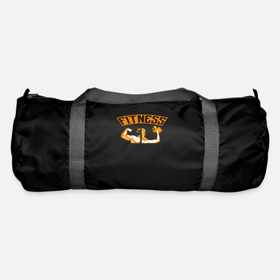 Muscular Bags & Backpacks - Fitness shirt toning pumps dumbbell workout - Duffle Bag black