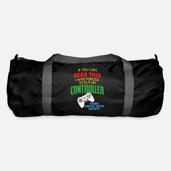 Play Bags & Backpacks - Funny gamer gambler computer game gift - Duffle Bag black