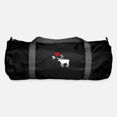 Cool Art Bird and deer lovers heart animals gift - Duffle Bag