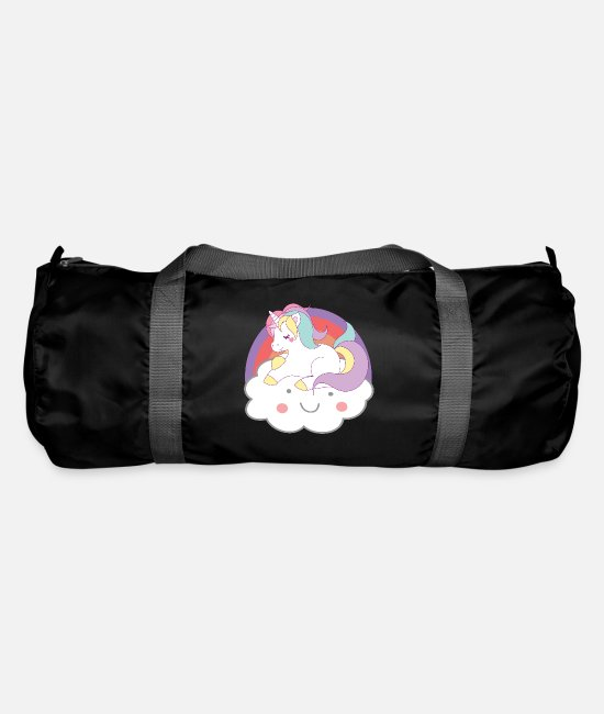 Mythical Creature Bags & Backpacks - Unicorns unicorn on cloud unicorns - Duffle Bag black