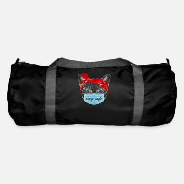 Cat Keep Your Distance Keep distance ! Cat cat with face mask - Duffle Bag
