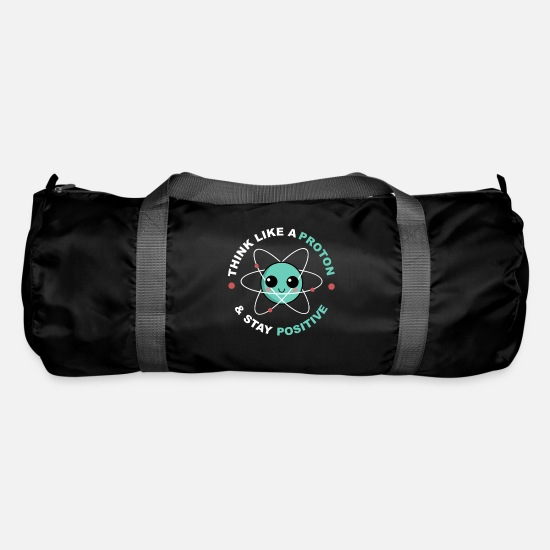 Chemistry Bags & Backpacks - Chemistry Funny thinking like a proton gift - Duffle Bag black