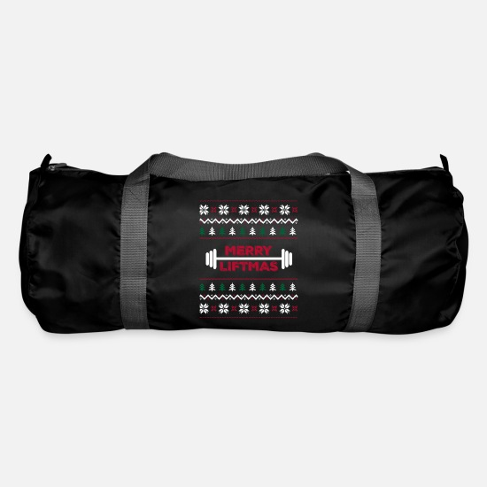 Activity Bags & Backpacks - Funny Ugly christmas lifting gym graphic - - Duffle Bag black