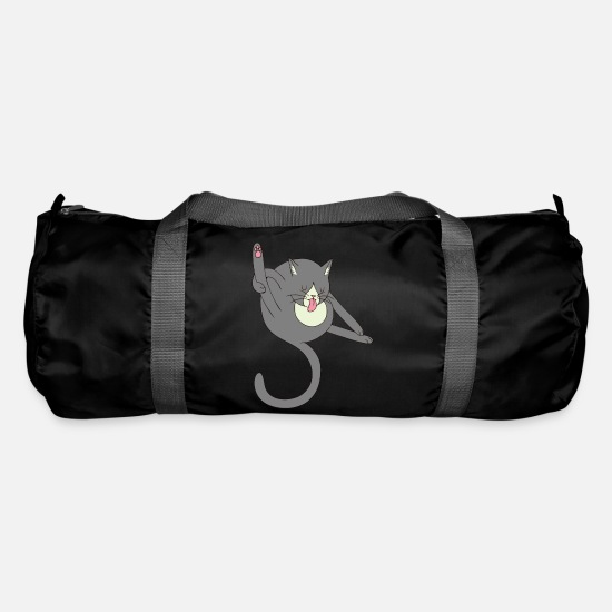 Tongue Bags & Backpacks - Licking cat - Duffle Bag black